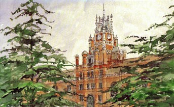 Royal Holloway from a watercolour by Alice Clay Limited edition of 100